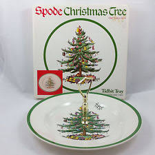 Spode Christmas Tree Tidbit Tray Round Serving Plate Center Handle England  S3324