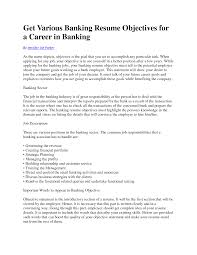 bank resume objective