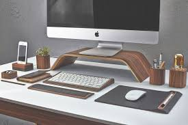 Office desk decoration items Diy 4 Walnut Monitor Stand Pinterest Perfect Your Design Workspace Desk Accessories For Your Office Or