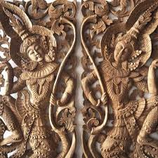pair of handcrafted wall hangings of thai angels carved wall art panel thai wall decorations