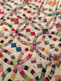 Close-up, Double Wedding Ring quilt: quilting design by Kim ... & Antique Vintage Handmade Quilt 80 5