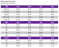 Motionwear Size Chart Sizing How To Measure