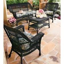 black wicker furniture. All Weather Mackinac Piece Wicker Seating Set In Black Furniture