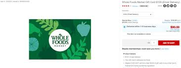 going a 100 whole foods gift card for 90 purchases at staples easily qualify for 5x rewards on the cards that earn the best bonuses