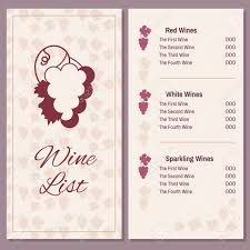 Wine List With A Bunch Of Grapes Two Pages Of Wine Menu Template