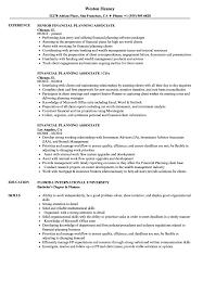 Financial Planning Associate Resume Samples Velvet Jobs
