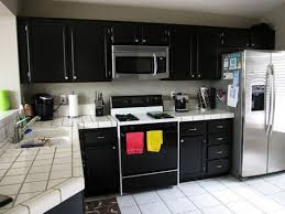 black and white tile countertops. Plain Countertops Simple Black Kitchen Cabinet Design Ideas White Tile Pattern Ceramic  Countertops Stainless Steel Double Door Inside And I