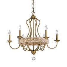 acclaim lighting ava 6 light indoor raw brass chandelier with crystal pendant