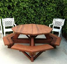 octagon picnic table wood picnic table with attached bench with regard to octagon picnic table build