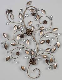 >floral metal wall art with a diamante features amazon uk  floral metal wall art with a diamante features