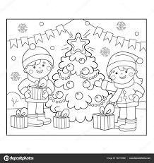 Kleurplaat Pagina Overzicht Van Kinderen Met Geschenken Bij De