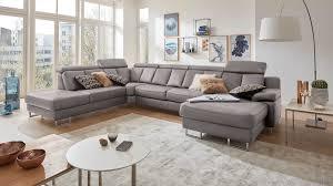 Interliving Sofa Serie 4050 Wohnlandschaft Graues Longlife Leder Cloudy Grey Chromfüße Stellfläche Ca 261 X 368 C