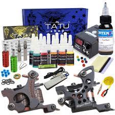 тату набор Tattoo Kit 10 с 2 мя индукционными тату машинками