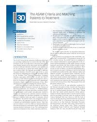 Pdf The Asam Criteria And Matching Patients To Treatment