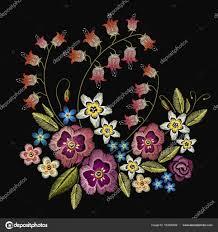 刺繍の花服のデザインのおしゃれなテンプレート ストックベクター
