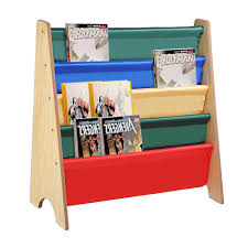 wooden kids book shelf sling storage rack organizer bookcase display natural