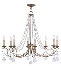 8 light antique gold leaf chandelier