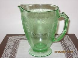 hazel atlas floine green depression glass pitcher