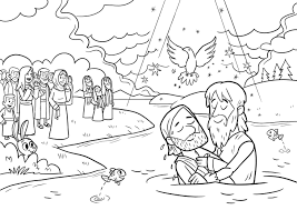 Awesome Jesus Being Baptized Coloring Pages Gallery Printable