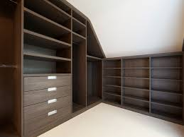 Modern Fitted Bedroom Furniture Loft Modern Walk In Wardrobe Dark Elm Bespoke Furniture Fitted