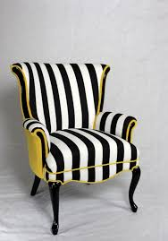 black or white furniture. black and white stripe chair with yellow velvet vintage wing back mid century modern or furniture