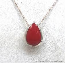 sterling silver red stone pendant necklace