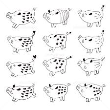 白黒 手書きのかわいい猪イラスト 年賀状素材 イラスト素材 5626640
