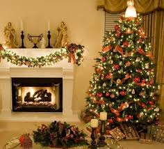 fireplace decorating and christmas tree in retro style