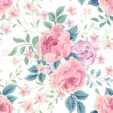 Naadloze Bloemmotief Bloem Roze Witte Achtergrond Behang Met Bloemen