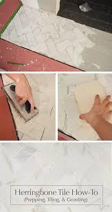 herringbone tiling tutorial diy grouting
