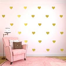 gold dots wall decals and gold heart erfly stars wall decals