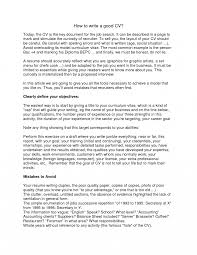 How To Write Good Job Resume First Cv Objective For A Summary