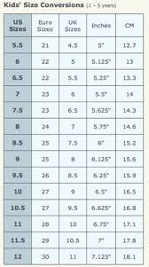 Toddler Shoe Size Chart Inches Shoe Size Charts