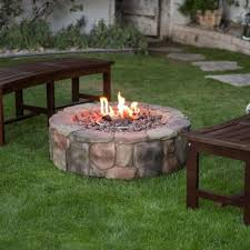 propane gas stone fire pit 36 backyard outdoor campfire heater cover