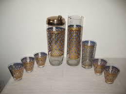 pasinski cocktail shaker glass set martini pitcher shot glass blue gold vintage 1 of 12 see more