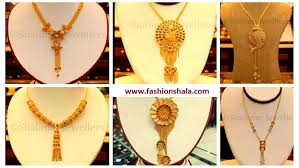 latest gold necklace designs with light