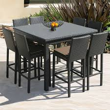 wicker bar height dining table: counter height patio set is also a kind of exclusive outdoor bar table outdoor furniture design