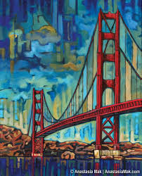 golden gate bridge in san francisco 5x7 art print by anastasia mak