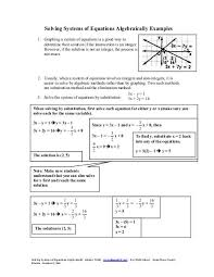 solving systems of equations algebraically examples beacon