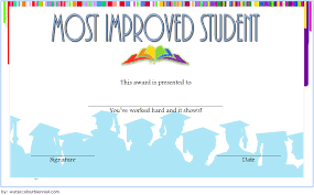 Most Improved Student Certificate Template 6 Paddle At The