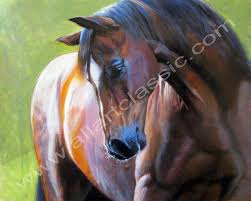 artist c vernet brown horse painting