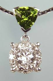 green garnet diamond pendant