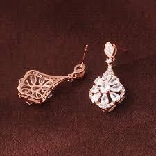 gulicx women punk large long 18k rose gold plated earring drop chandelier dangle earing zirconia crystal wedding jewelry e052 wedding bridal jewelry wedding