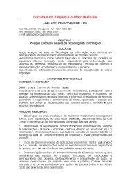 Exemplo De Curriculo Modelos De Curriculuns Exemplo De Curriculo Cronol Gico
