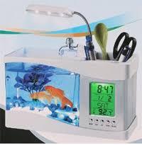 fish for office. Mini USB LCD Desktop Lamp Light Fish Tank Aquarium LED Clock White For Office A