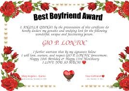 Best Boyfriend Award Certificate Created With Certificatefun Com