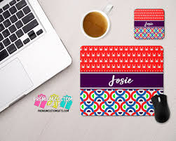 monogrammed mouse pad and coaster set mouse pad desk set personalized mouse pad custom mouse pad custom coaster teacher gift