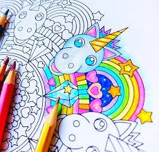 Rainbow Unicorn Mandala Coloring Page Printable Coloring Etsy