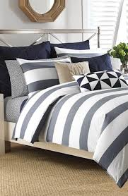 navy blue and grey striped comforter