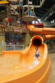 child going down a water slide at great wolf lodge in anaheim